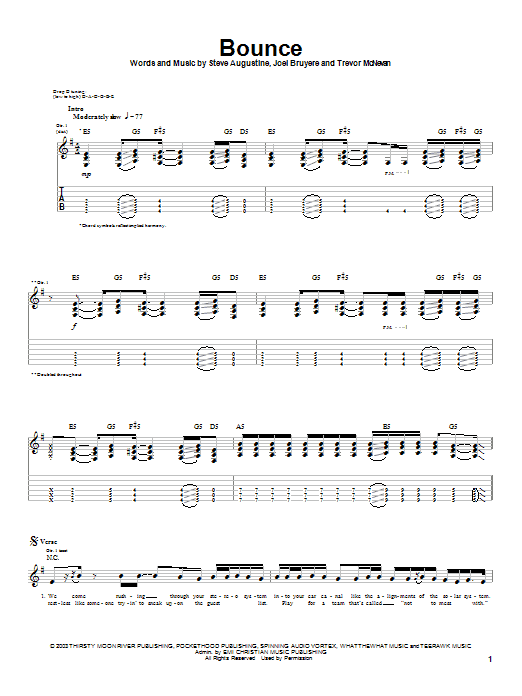 Thousand Foot Krutch Bounce sheet music notes and chords. Download Printable PDF.