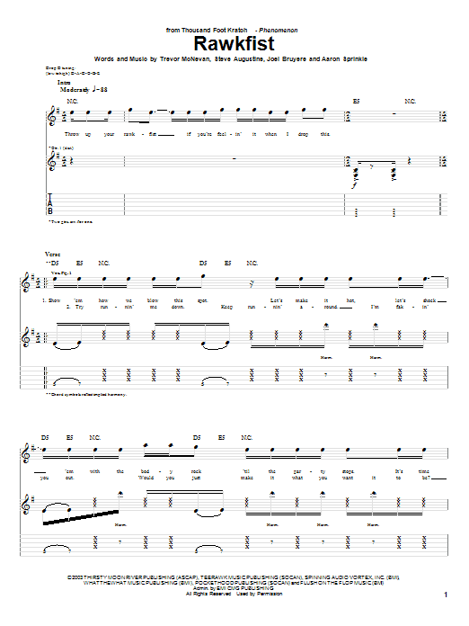 Thousand Foot Krutch Rawkfist sheet music notes and chords. Download Printable PDF.