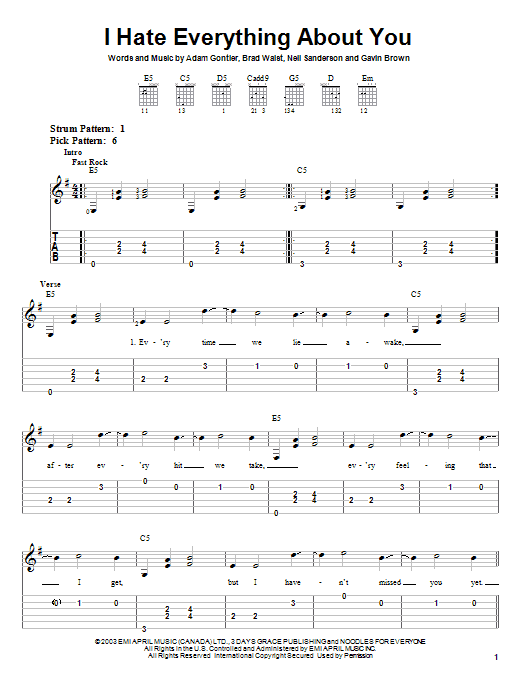 Three Days Grace I Hate Everything About You sheet music notes and chords. Download Printable PDF.