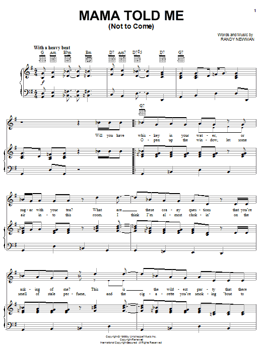 Three Dog Night Mama Told Me (Not To Come) sheet music notes and chords. Download Printable PDF.