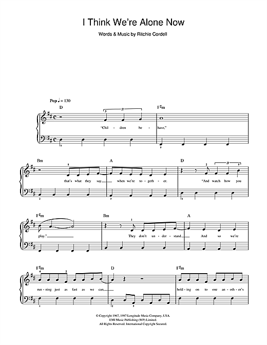 Girls Aloud I Think We're Alone Now sheet music notes and chords. Download Printable PDF.