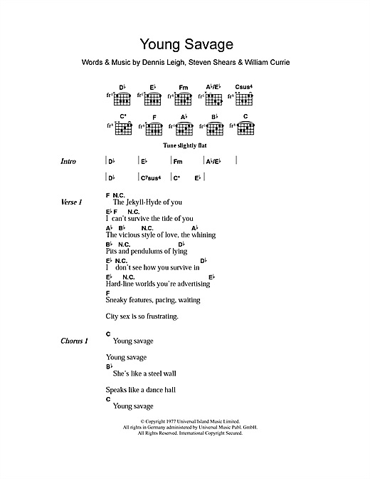Tiger Lily Young Savage sheet music notes and chords. Download Printable PDF.