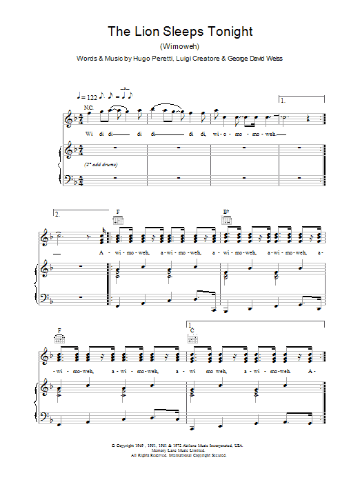Tight Fit The Lion Sleeps Tonight (Wimoweh) sheet music notes and chords. Download Printable PDF.