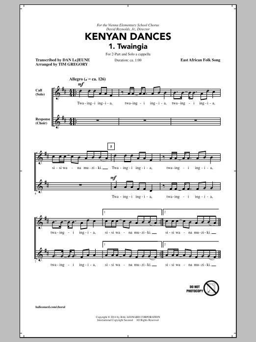Tim Gregory Kwaheri sheet music notes and chords. Download Printable PDF.