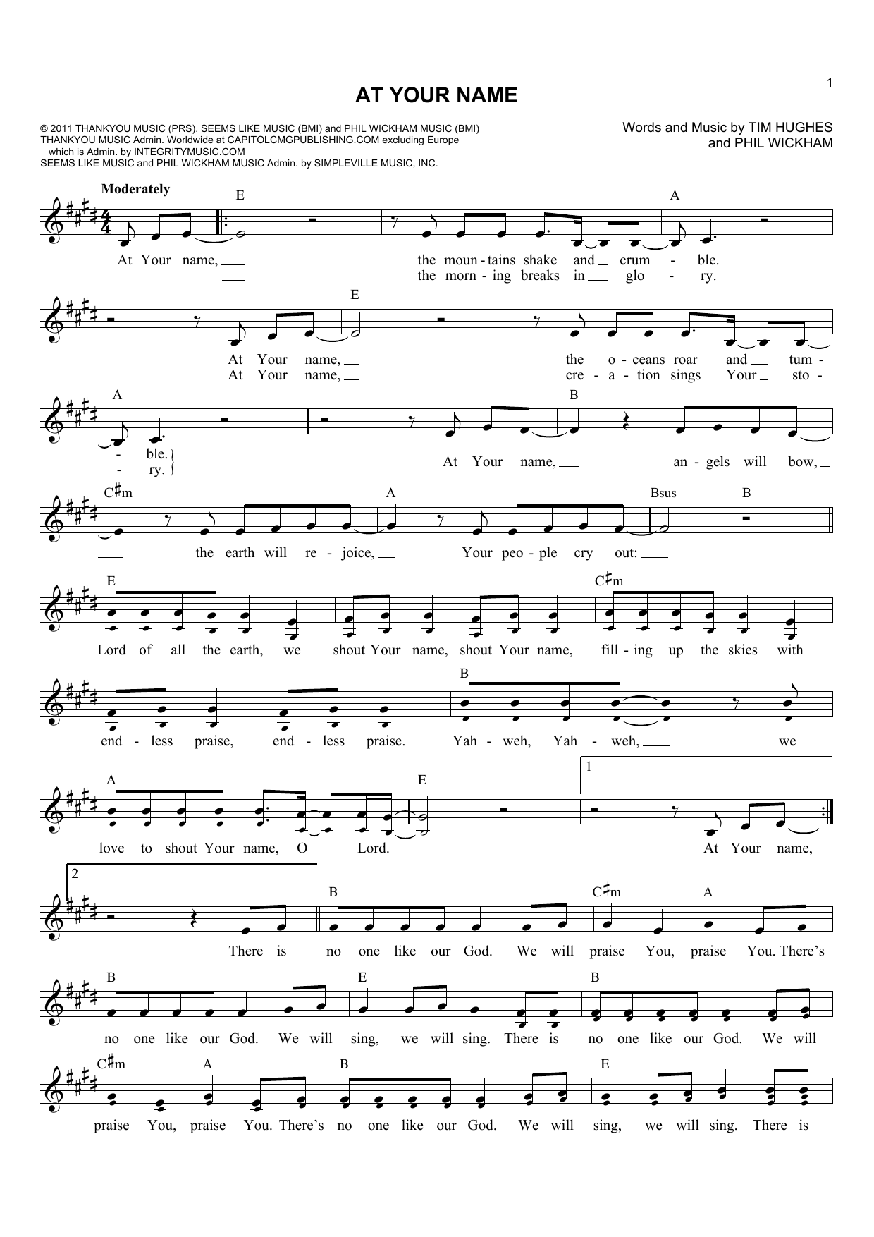 Tim Hughes At Your Name sheet music notes and chords. Download Printable PDF.
