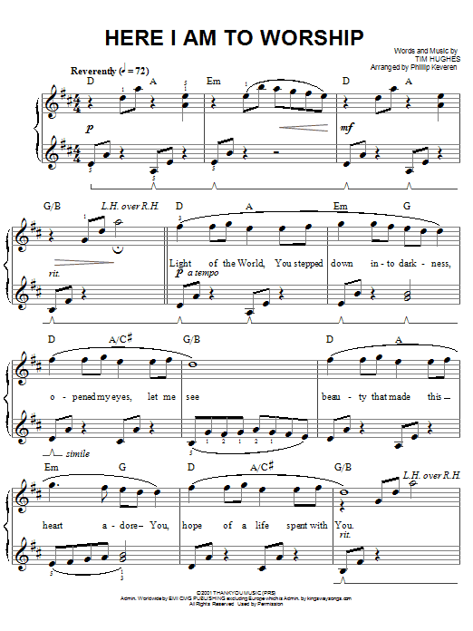 Phillips, Craig & Dean Here I Am To Worship sheet music notes and chords. Download Printable PDF.