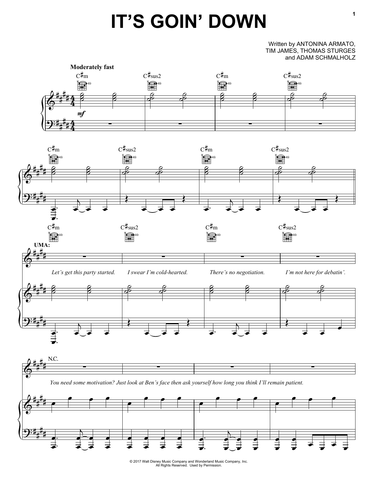 Tim James It's Goin' Down (from Disney's Descendants 2) sheet music notes and chords. Download Printable PDF.