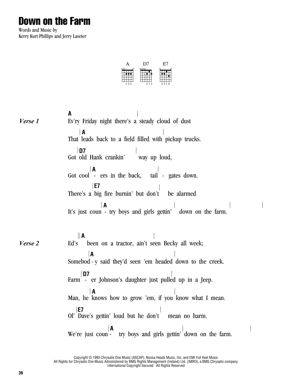 Tim McGraw Down On The Farm Sheet Music Notes, Chords   Download Printable  Guitar Chords/Lyrics PDF Score   SKU 15