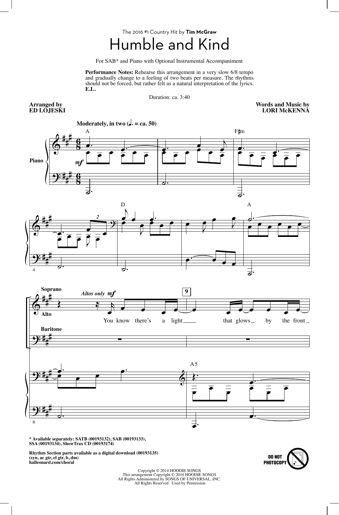 Tim McGraw Humble And Kind (arr. Ed Lojeski) sheet music notes and chords. Download Printable PDF.
