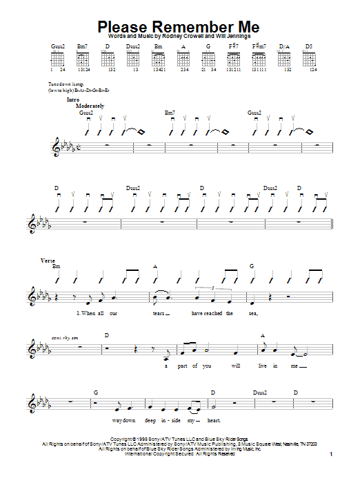 Tim McGraw Please Remember Me sheet music notes and chords
