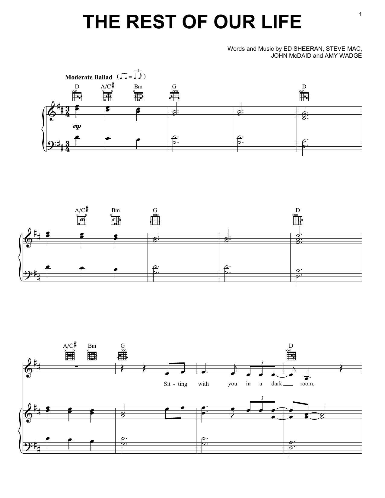 Tim McGraw The Rest Of Our Life (feat. Faith Hill) sheet music notes and chords. Download Printable PDF.