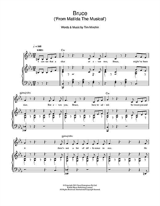 Tim Minchin Bruce (From 'Matilda The Musical') sheet music notes and chords. Download Printable PDF.