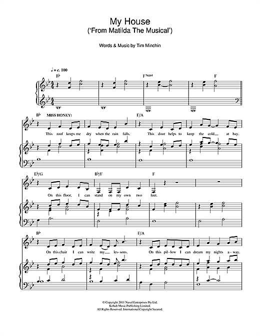 Tim Minchin My House (From 'Matilda The Musical') sheet music notes and chords