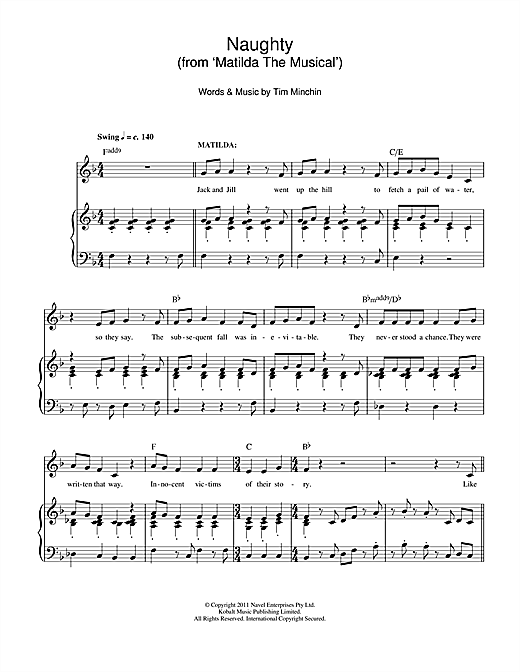 Tim Minchin Naughty (From 'Matilda The Musical') sheet music notes and chords. Download Printable PDF.