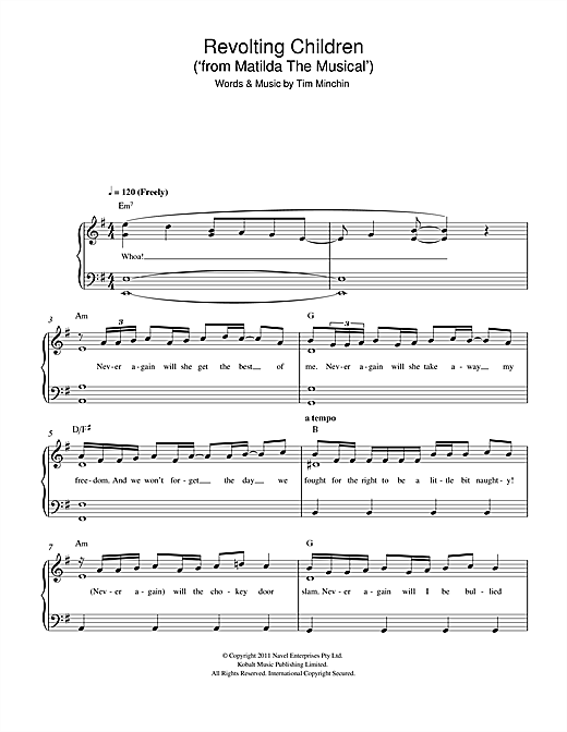 Tim Minchin Revolting Children (From 'Matilda The Musical') sheet music notes and chords. Download Printable PDF.