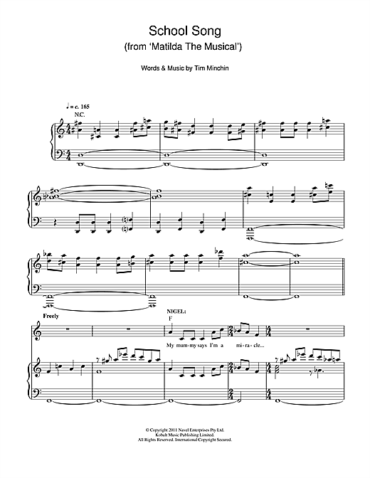 Tim Minchin School Song (From 'Matilda The Musical') sheet music notes and chords. Download Printable PDF.