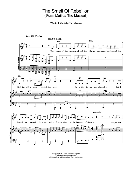 Tim Minchin The Smell Of Rebellion (From 'Matilda The Musical') sheet music notes and chords