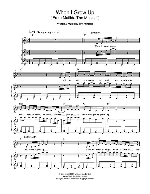 Tim Minchin When I Grow Up (From 'Matilda The Musical') sheet music notes and chords. Download Printable PDF.