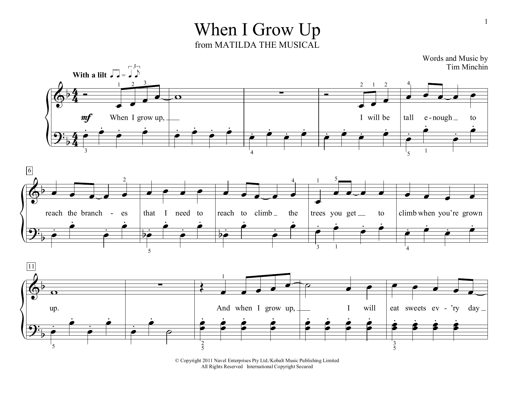 Tim Minchin When I Grow Up (from Matilda the Musical) (arr. Christopher Hussey) sheet music notes and chords