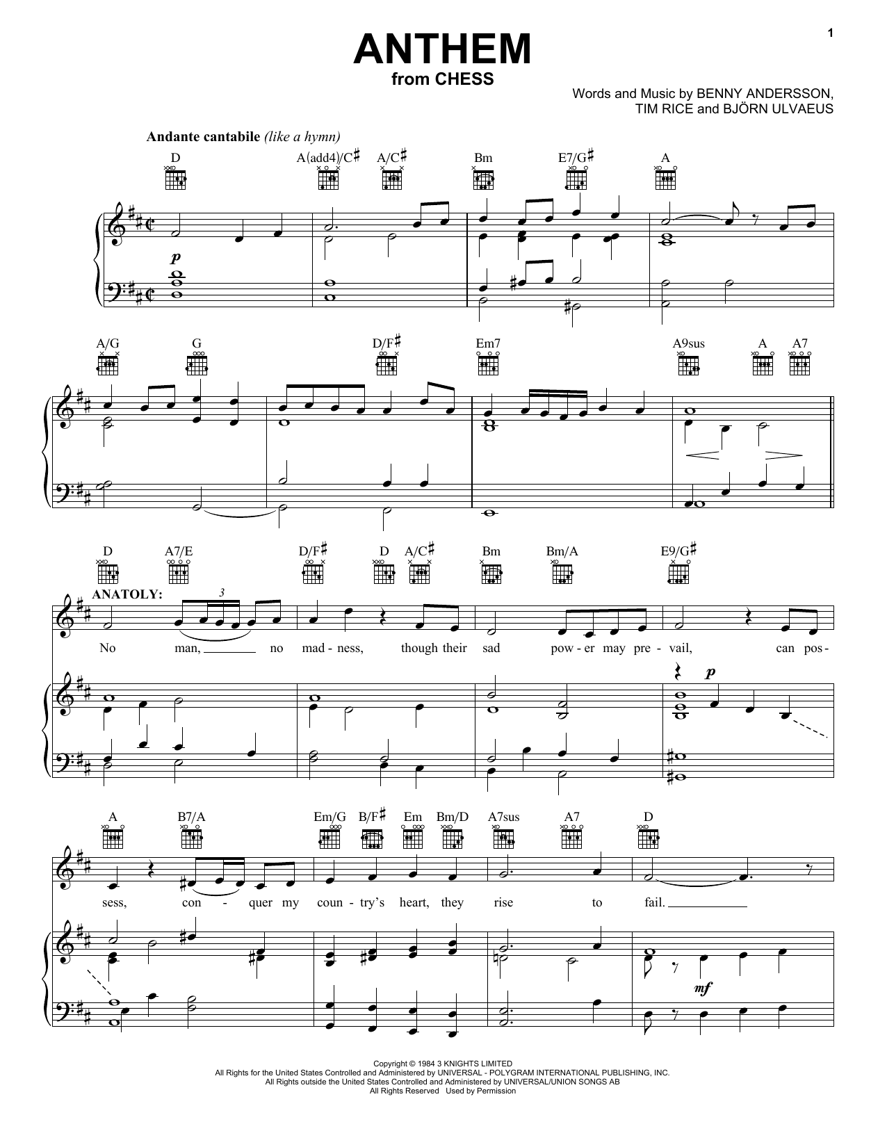 Andersson and Ulvaeus Anthem (from Chess) sheet music notes and chords. Download Printable PDF.
