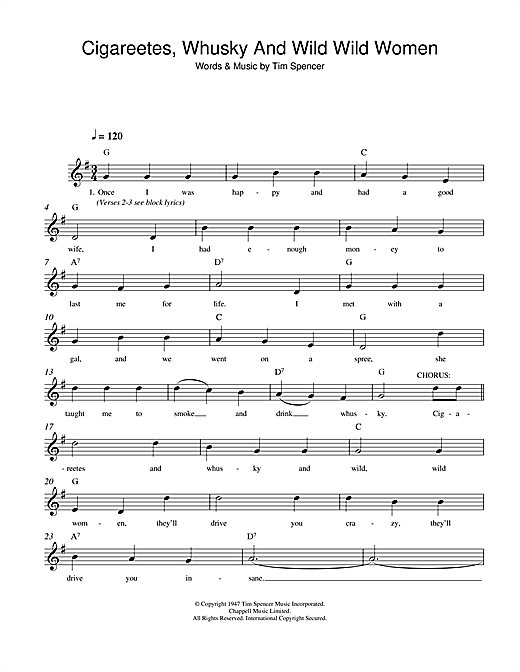 Tim Spencer Cigareetes, Whusky And Wild Wild Women sheet music notes and chords. Download Printable PDF.