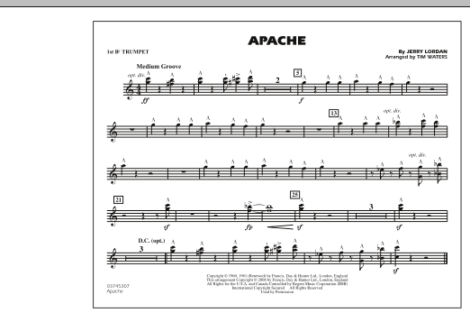 Tim Waters Apache - 1st Bb Trumpet sheet music notes and chords