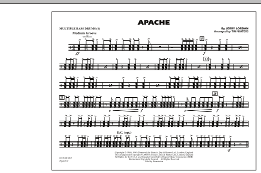 Tim Waters Apache - Multiple Bass Drums sheet music notes and chords