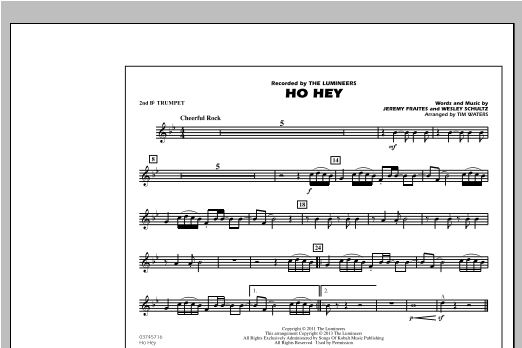 Tim Waters Ho Hey - 2nd Bb Trumpet sheet music notes and chords. Download Printable PDF.