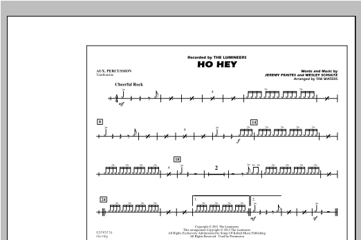 Tim Waters Ho Hey - Aux Percussion sheet music notes and chords. Download Printable PDF.