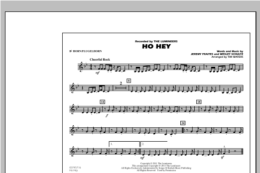 Tim Waters Ho Hey - Bb Horn/Flugelhorn sheet music notes and chords. Download Printable PDF.