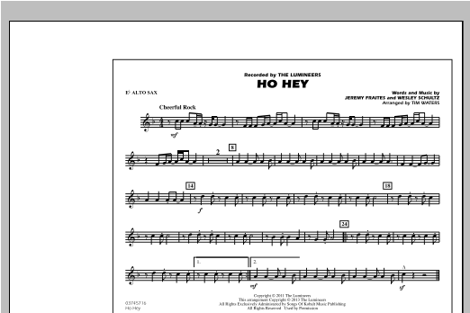 Tim Waters Ho Hey - Eb Alto Sax sheet music notes and chords. Download Printable PDF.