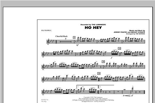 Tim Waters Ho Hey - Flute/Piccolo sheet music notes and chords. Download Printable PDF.