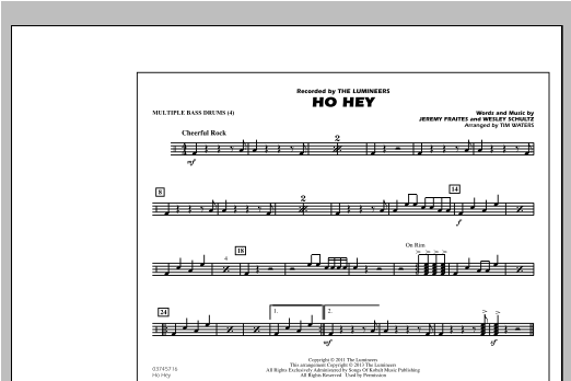 Tim Waters Ho Hey - Multiple Bass Drums sheet music notes and chords. Download Printable PDF.