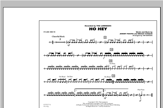 Tim Waters Ho Hey - Snare Drum sheet music notes and chords. Download Printable PDF.