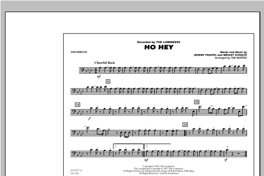 Tim Waters Ho Hey - Trombone sheet music notes and chords. Download Printable PDF.