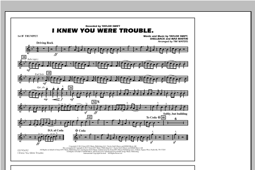 Tim Waters I Knew You Were Trouble - 1st Bb Trumpet sheet music notes and chords. Download Printable PDF.