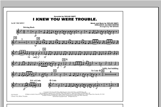 Tim Waters I Knew You Were Trouble - 3rd Bb Trumpet sheet music notes and chords. Download Printable PDF.