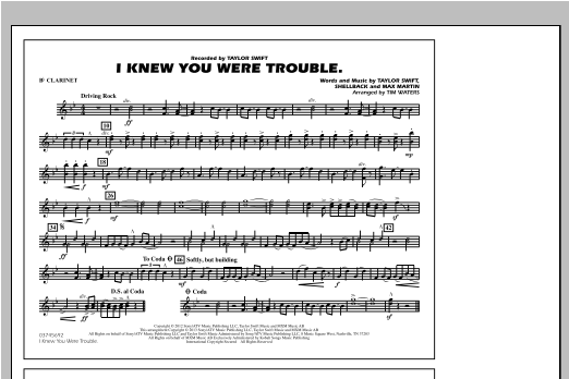 Tim Waters I Knew You Were Trouble - Bb Clarinet sheet music notes and chords. Download Printable PDF.