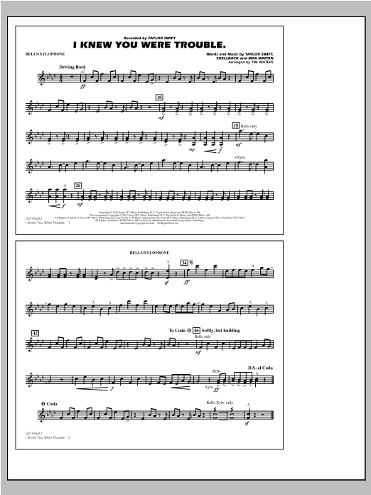 Tim Waters I Knew You Were Trouble - Bells/Xylophone sheet music notes and chords. Download Printable PDF.