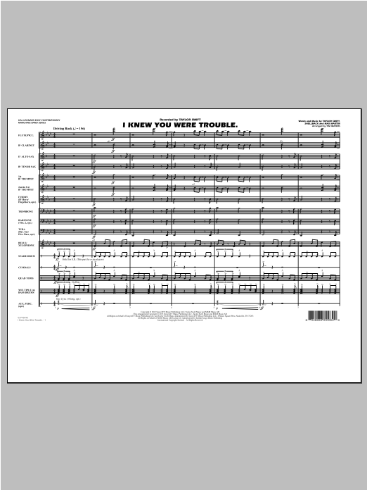 Tim Waters I Knew You Were Trouble - Conductor Score (Full Score) sheet music notes and chords. Download Printable PDF.