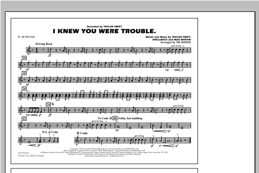 Tim Waters I Knew You Were Trouble - Eb Alto Sax sheet music notes and chords. Download Printable PDF.