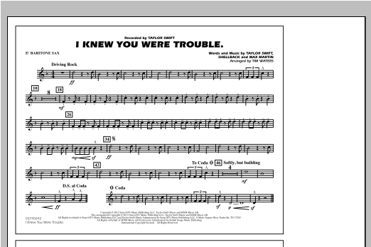 Tim Waters I Knew You Were Trouble - Eb Baritone Sax sheet music notes and chords. Download Printable PDF.