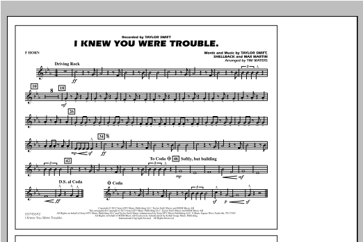 Tim Waters I Knew You Were Trouble - F Horn sheet music notes and chords. Download Printable PDF.