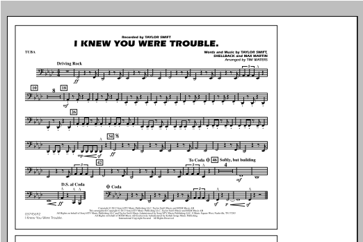 Tim Waters I Knew You Were Trouble - Tuba sheet music notes and chords. Download Printable PDF.