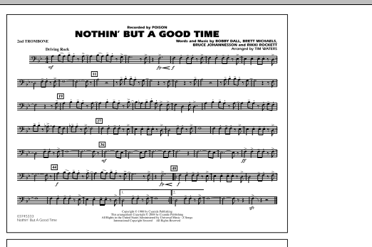 Tim Waters Nothin' But A Good Time - 2nd Trombone sheet music notes and chords. Download Printable PDF.