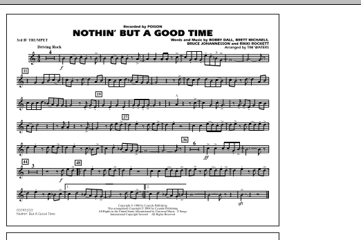 Tim Waters Nothin' But A Good Time - 3rd Bb Trumpet sheet music notes and chords. Download Printable PDF.