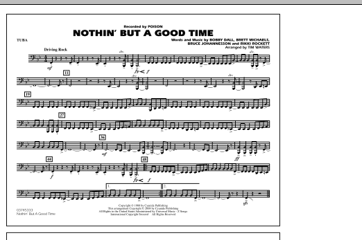 Tim Waters Nothin' But A Good Time - Tuba sheet music notes and chords