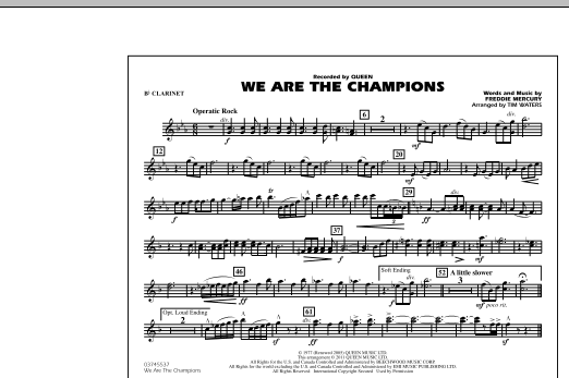 Tim Waters We Are The Champions - Bb Clarinet sheet music notes and chords
