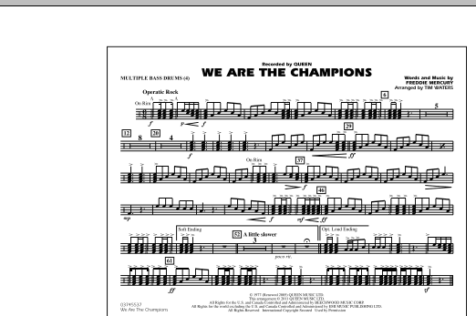 Tim Waters We Are The Champions - Multiple Bass Drums sheet music notes and chords