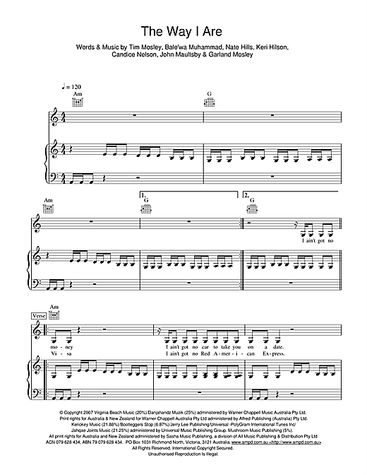 Timbaland The Way I Are sheet music notes and chords. Download Printable PDF.